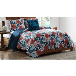 Morgan Home Portia Red and Blue Floral Comforter Set