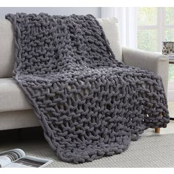 Morgan Home Fashions Chunky Knit Chenille Throw Blanket