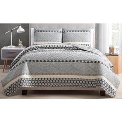 Morgan Home Noreen Grey Reversible Quilt Set