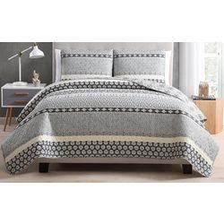 Morgan Home Fashions Noreen Grey Reversible Quilt Set