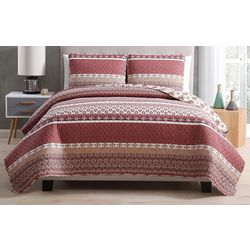 Morgan Home Fashions Noreen Red Reversible Quilt Set
