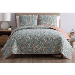 Morgan Home Fashions Gertrude Blue Reversible Quilt Set