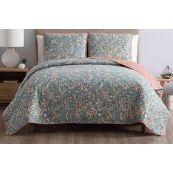 Morgan Home Fashions Gertrude Blue Reversible Quilt Set