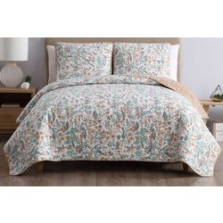 Morgan Home Fashions Gertrude Peach Reversible Quilt Set