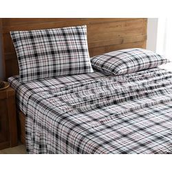 Morgan Home Fashions Geraldine Black & Red Flannel Sheet Set