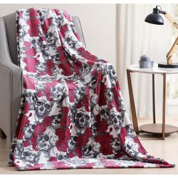 Morgan Home Fashions Floral Skulls Plush Throw Blanket