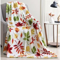 Morgan Home Fall Leaves Plush Throw Blanket