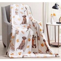 Morgan Home Fall Puppy Plush Throw Blanket