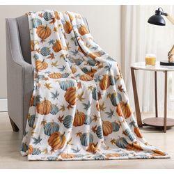Morgan Home Fall Pumpkin Plush Throw Blanket