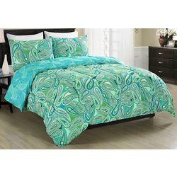 Blissful Living Aqua Paisley Rerversible Comforter Set