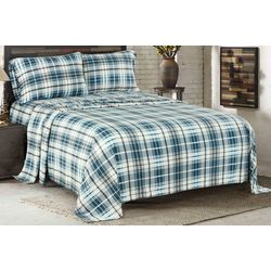 Sunbeam Walker Blue Heavyweight Fleece Sheet Set