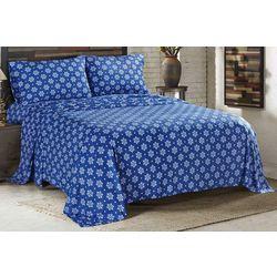Sunbeam Claribel Blue Heavyweight Fleece Sheet Set