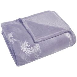 Morgan Home Unicorn Dreams Embossed Velvet Plush Blanket