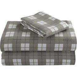 Morgan Home Geraldine Grey Plaid Cotton Flanel Sheet Set