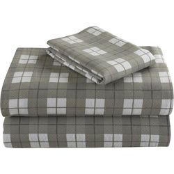 Morgan Home Geraldine Grey Plaid Cotton Flanel Sheet