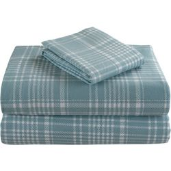 Morgan Home Geraldine Blue Plaid Cotton Flanel Sheet