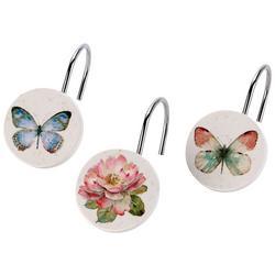 Butterfly Garden 12-pc Shower Curtain Hooks
