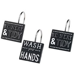 Chalk It Up 12-pc. Shower Curtain Hooks