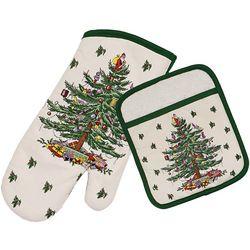Spode Christmas Tree Green Pot Holder & Oven Mitt set