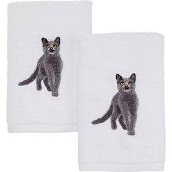 Avanti Grey Cat 2-pc. Hand Towel Set