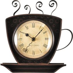FirsTime 9'' Bronze Coffee Cup Wall Clock