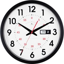 FirsTime 14'' Day Date Wall Clock