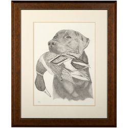 Linnea Szymanski 'Good Boy' Original Drawing Framed Art