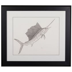 Linnea Szymanski 'Sailfish Too' Original Drawing Framed Art
