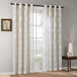 Madison Park Adele Sheer Ogee Jacquard Sheer Window Curtain