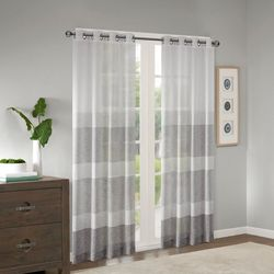 Madison Park Hayden Faux Linen Striped Sheer Window Panel