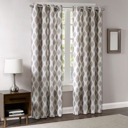 Madison Park Metallic Ogee Sheer Panel with Blackout