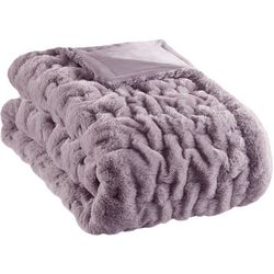 Madison Park Ruched Fur Throw Blanket
