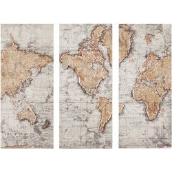 Madison Park Map of the World 3-pc. Canvas Wall Art