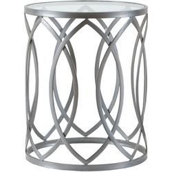 Madison Park Gaige Silver Metal Eyelet Accent Table