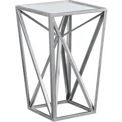 Madison Park Jaye Silver Angular Mirror Accent Table