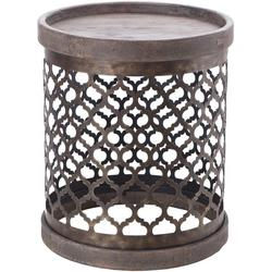 Wells Quatrefoil Metal Drum Accent Table
