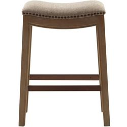 Madison Park Westly Beige Saddle Bar Stool