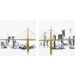 Ink + Ivy Bridge And Skyline 2-pc. Canvas Wall Art