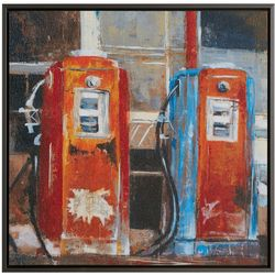 Ink + Ivy Gas Pumps Framed Canvas Wall Art