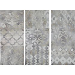 Madison Park Watercolor Ikat Taupe 3-pc. Canvas Wall Art
