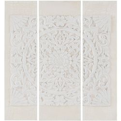 Madison Park White Wooden Mandala 3-pc. Canvas Wall Art