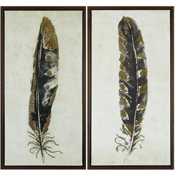 Urban Habitat Gilded Feathers 2-pc. Canvas Wall Art