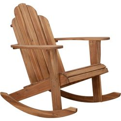 Linon Rockville Teak Finish Adirondack Rocker