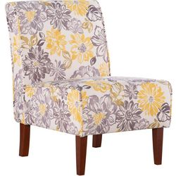 Linon Benson Grey & Yellow Floral Accent Chair
