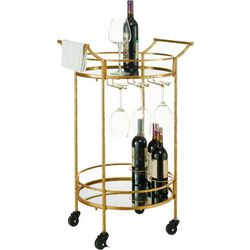 Linon Glover Round Gold Metal Bar Cart