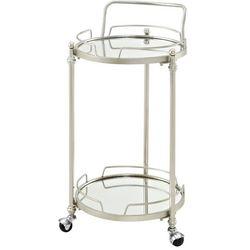 Linon Avery Round Silver Mirror Bar Cart
