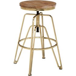 Linon Averill Wood and Metal Adjustable Stool