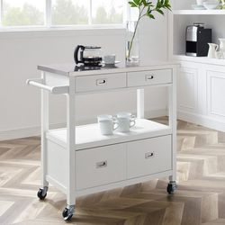 Linon Hadley White Kitchen Cart