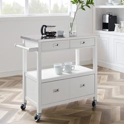 Hadley White Kitchen Cart