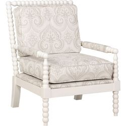 Linon Sutton Beige Spindal Wood Frame Chair